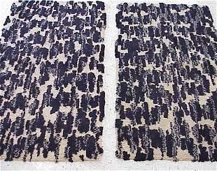 PAIR BLACK & WHITE HOOKED RUGS, C.1950'S