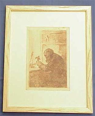 ETCHING, THE SCULPTOR, SIGNED S.J. WOOLF