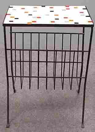 ART MODERN CERAMIC TILE TOP/WIRE BASE STAND