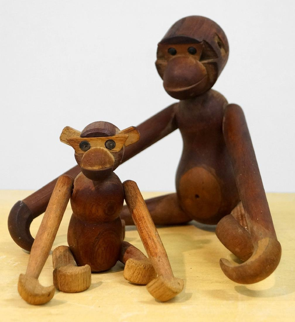 LOT (2) VINTAGE KAY BOJESEN ERA JOINTED MONKEYS