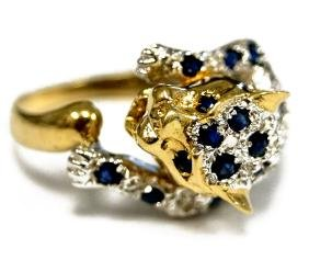 14K/585 YELLOW AND WHITE GOLD DIAMOND AND SAPPHIRE