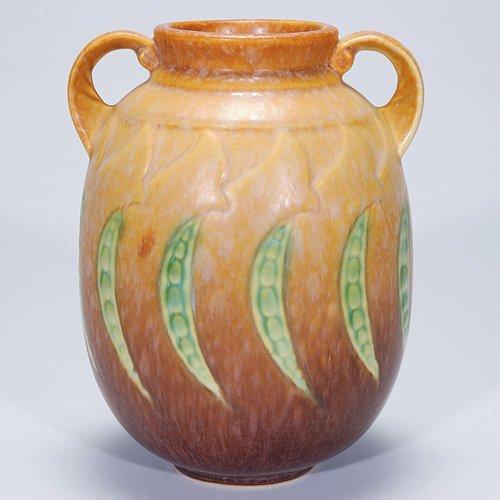 "2: Roseville brown Falline vase, shape 647-7"""