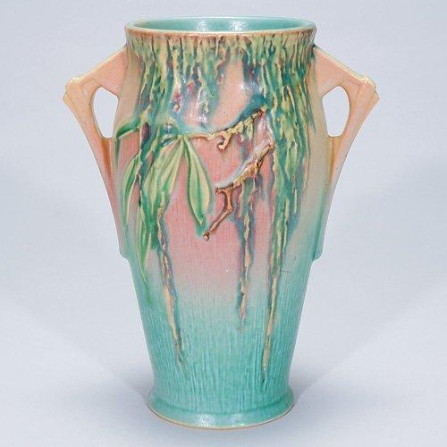 """3: Roseville pink Moss vase, #780-8"""""""