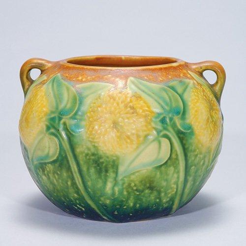 """4: Roseville brown Sunflower vase, #213-4"""""""