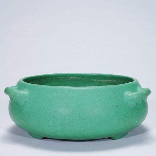 """7: Roseville Mat Green 3 5/8"""" X 10"""" bowl, 316-8"""