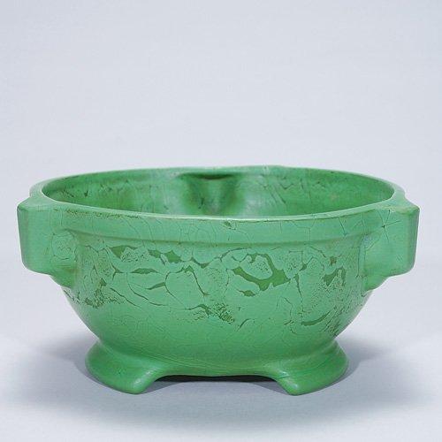"""8: Roseville 3 1/2"""" Chloron bowl, curdled green mat"""