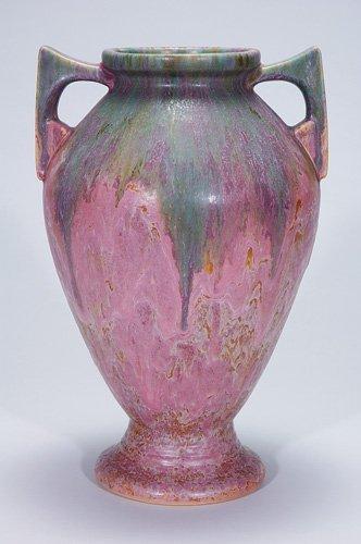 "9: Roseville Carnelian II vase, 339-15"", pink"