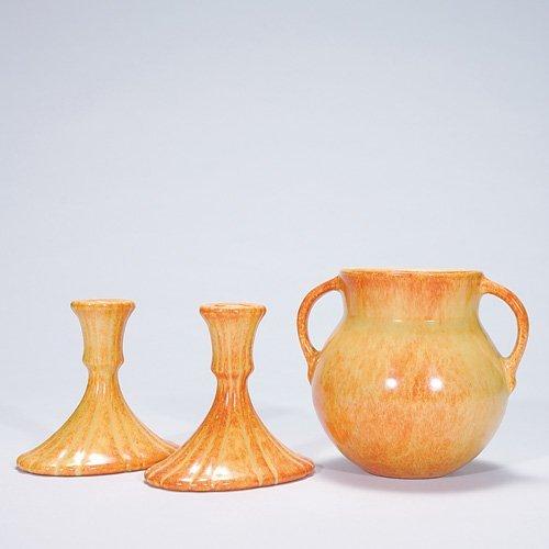 24: Roseville gold Tourmaline vase & candle holders