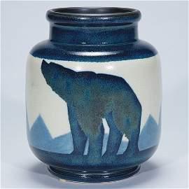"386: Boch Freres vase, polar bears, Catteau, 8 1/2"""