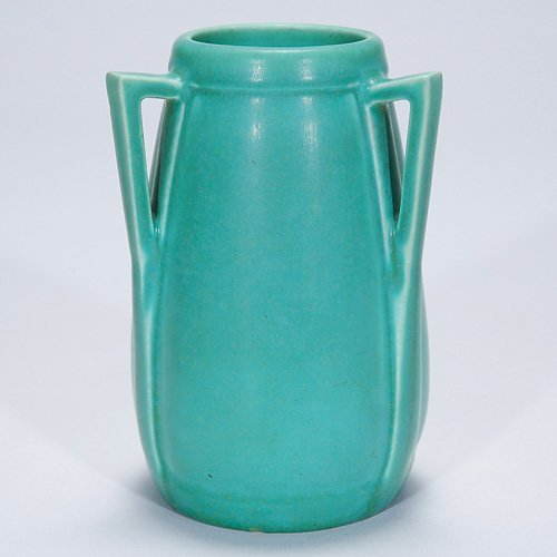 "1005: Rookwood 5"" production vase, 3 handles, mat"