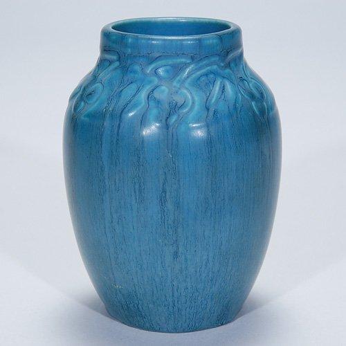 "1014: Rookwood blue mat production vase, 4 3/4"", 1932"