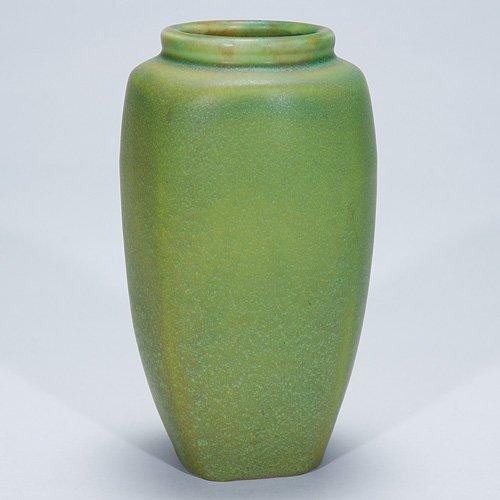 "1021: Rookwood green production vase, 1909, 6 1/2"""