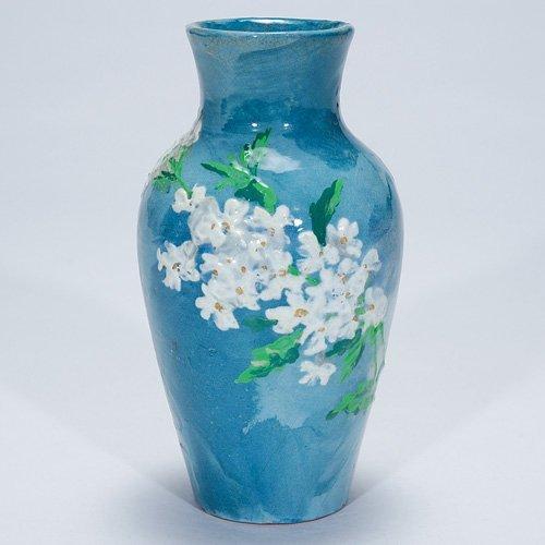 "1146: Early M.L. McLaughlin limoges vase, 6 1/2"""