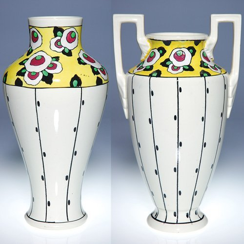 1: 2 Boch Fres vases, 5 color Art Deco, 11 3/4 inches