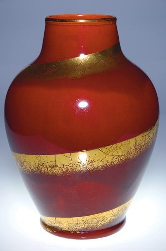 3: Boch Freres red and gold vase, 12 1/8""