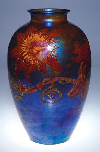 "211: Large Zsolnay vase, passion flowers, 12 3/4"""