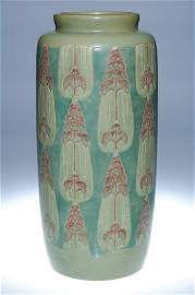 """425: Rare Overbeck vase, stylized flowers, 14 1/4"""""""