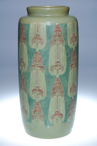 425: Rare Overbeck vase, stylized flowers, 14 1/4""