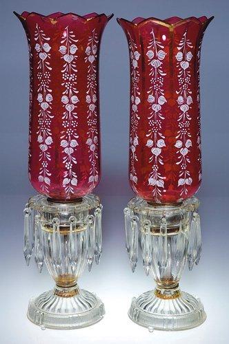 "841: Pr cranberry Lustres in holders, prisms, 16 1/2"""
