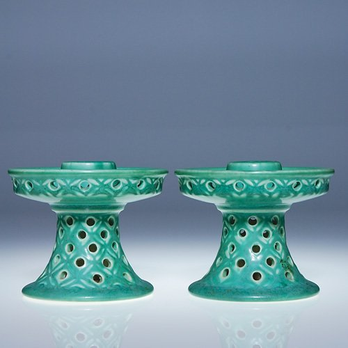 1001: Rookwood pair candleholders, #6069, 1929