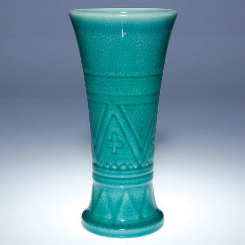 """1010: Rookwood turquoise production vase, 1927, 9"""""""