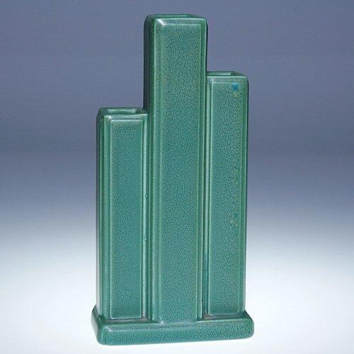 """1015: Rookwood 7 3/8""""  Art Deco triple bud vase, 1930"""