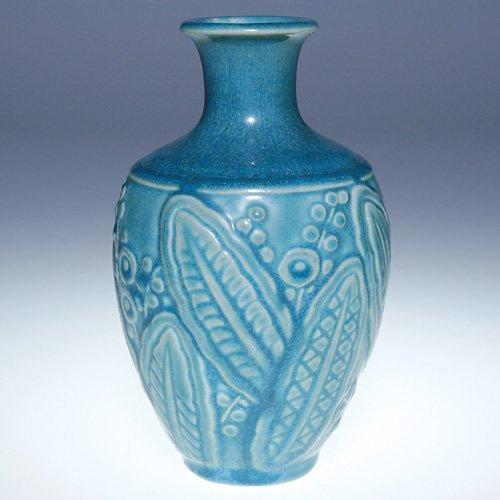 "1018: Rookwood blue mat vase, #6444, 1941, 5"""