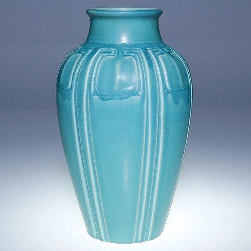 """1023: Rookwood turquoise production vase, 1921, 10"""""""