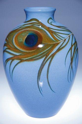 1226: Rookwood Iris vase, peacock feather, Schmidt