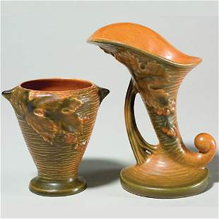 """Bushberry vases in orange, shape 28-4"""" and 153-6"""""""