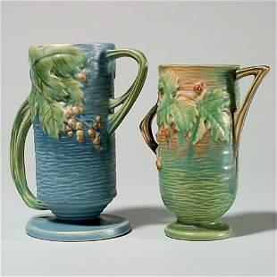 """2 Roseville Bushberry : vase, shape 32-7""""crack; vase"""