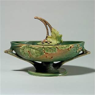 """2 Roseville Bushberry, green: bowl, 1-10"""", with frog"""