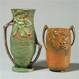 "2 Rv Bushberry vases, green 37-10"" + 31-7"""