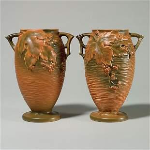"2 Rv Bushberry vases, 35-9"", russet, 9 3/8"", nicks,"
