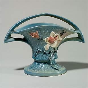 """Roseville Magnolia basket, shape 385-10"""", blue"""