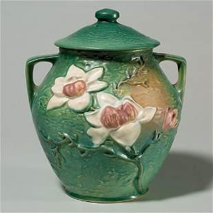 Roseville Magnolia cookie jar, shape 2-8, green