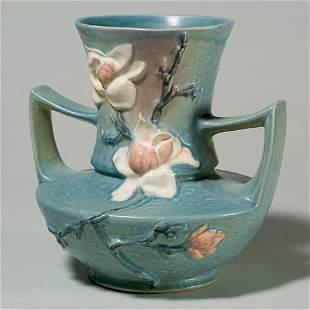 Roseville Magnolia vase, shape 93-9, blue