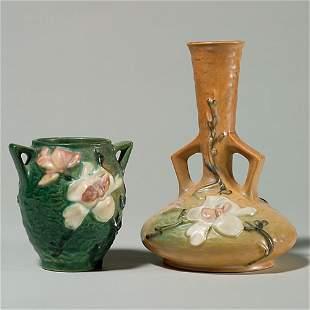 "2 Rv Magnolia: vase, brown, 179-7""; green vase 86-4"