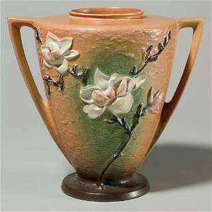 """Roseville Magnolia vase, 94-9"""", brown, 9"""", pattern"""