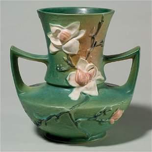 "Roseville Magnolia vase, shape 93-9, green, 9 1/4"","