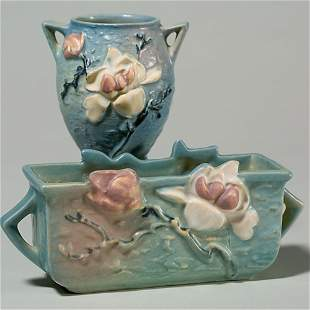 "2 Rv blue Magnolia: window box, 388-6""; vase, 86-4"""