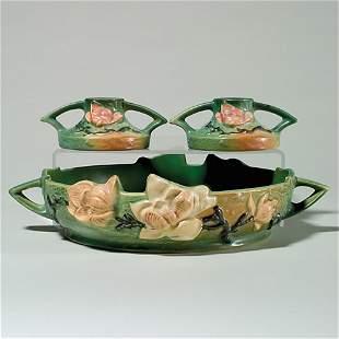 Roseville Magnolia console set:bowl, candlesticks