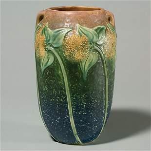 """Roseville Sunflower 10 1/4""""vase, tight line at base"""