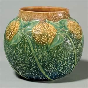 """22: Roseville Sunflower vase shape 489-7"""", rim chip"""