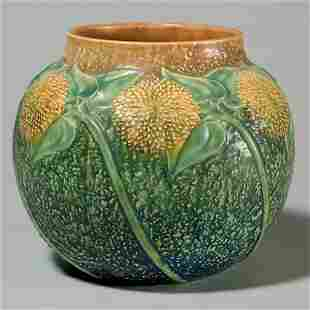 """Roseville Sunflower vase shape 489-7"""", rim chip"""