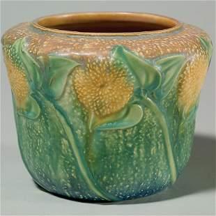 """Roseville Sunflower vase, shape #486-5""""."""