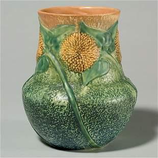 """Roseville Sunflower vase, 8 1/4"""", repaired rim"""