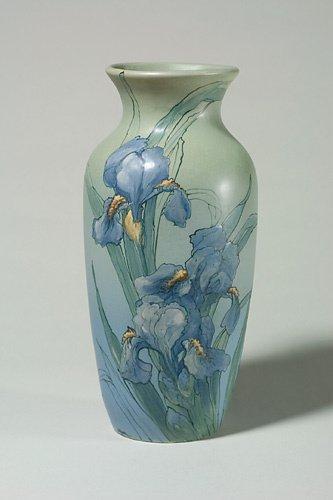 910: Weller Hudson 15 1/8 vase,blue  irises, Leffler