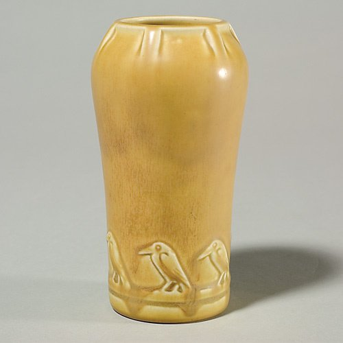 "1403: Rookwood mat yellow 53/4"" vase, 1927, band of roo"