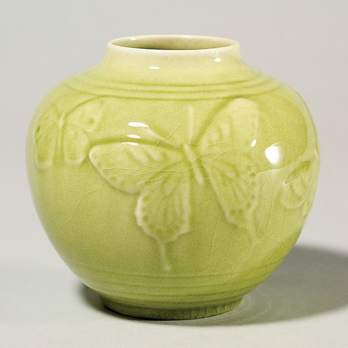 "1421: Rookwood production 4 5/8"" vase, 1950, chartreuse"